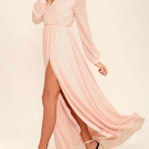 Wondrous Water Lilies Blush Pink Maxi Dress